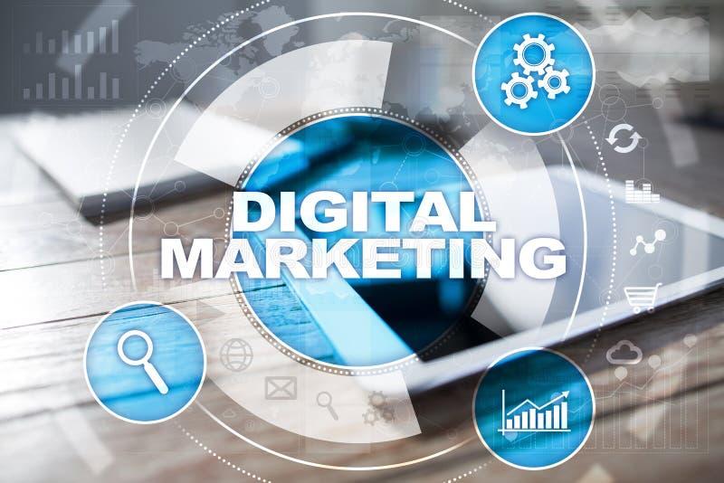 Begrepp för Digital marknadsföringsteknologi Internet Direktanslutet SEO SMM annonsering royaltyfri bild