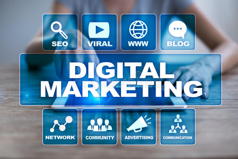 Begrepp för Digital marknadsföringsteknologi Internet Direktanslutet SEO SMM annonsering