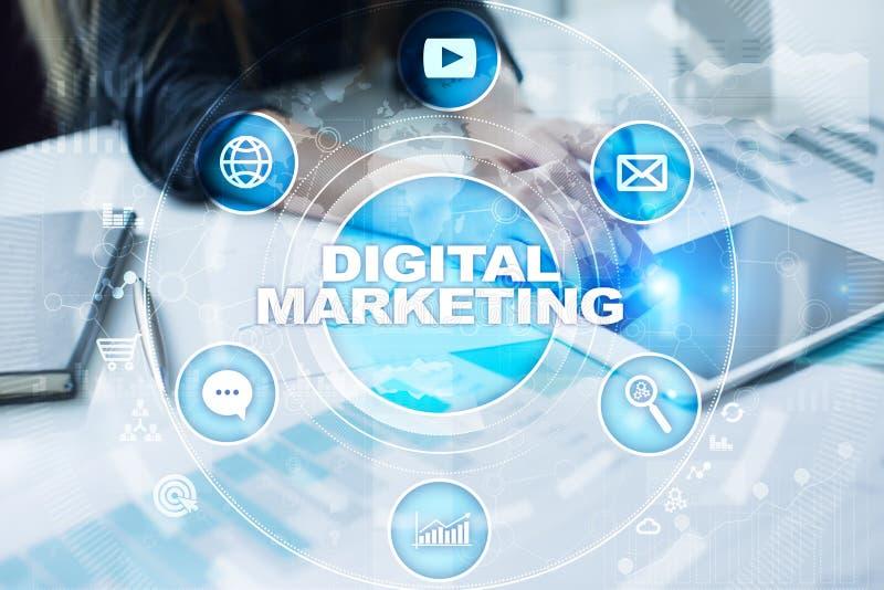 Begrepp för Digital marknadsföringsteknologi Internet Direktanslutet SEO SMM annonsering royaltyfri foto
