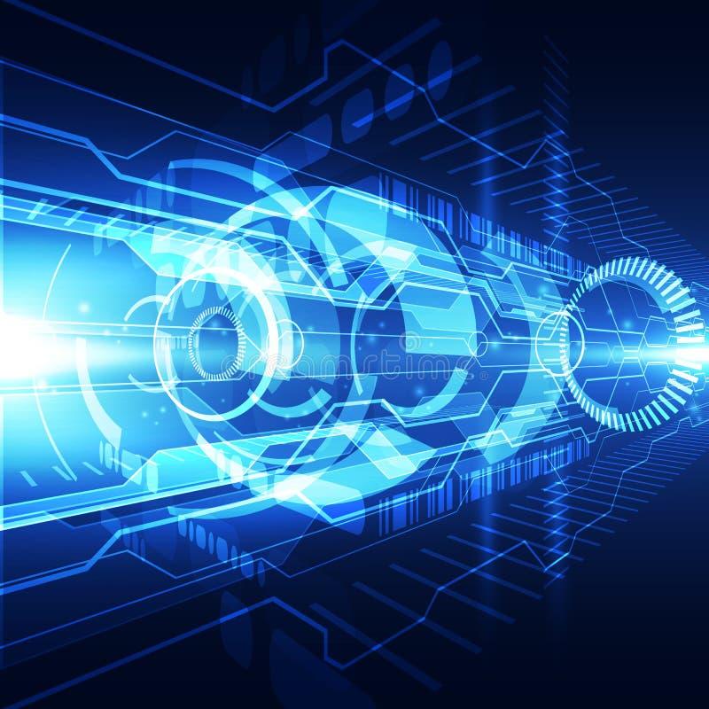 Begrepp för digital teknologi för abstrakt anslutning för vektor futuristisk blå högt bakgrundsgalleriillustration mer mitt vektor illustrationer