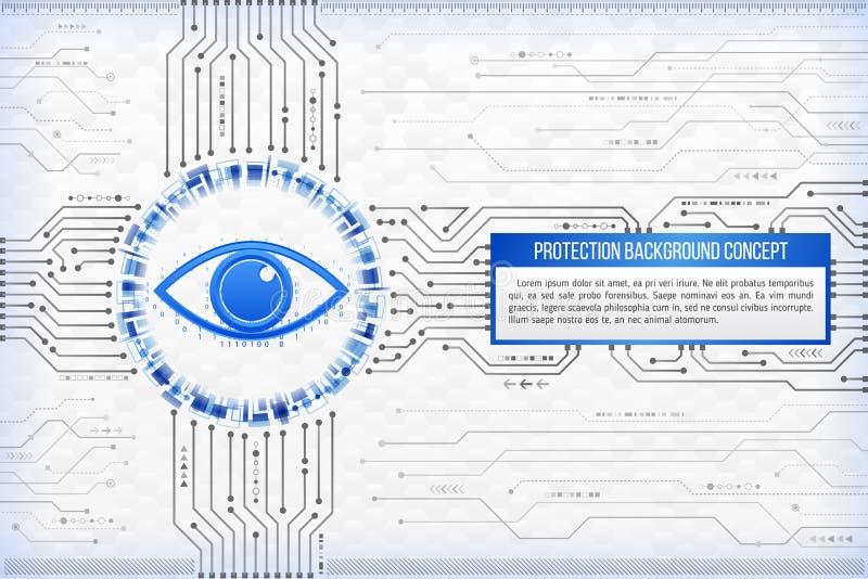 Begrepp för Digital teknologi av bakgrund med ett öga Modern saf stock illustrationer