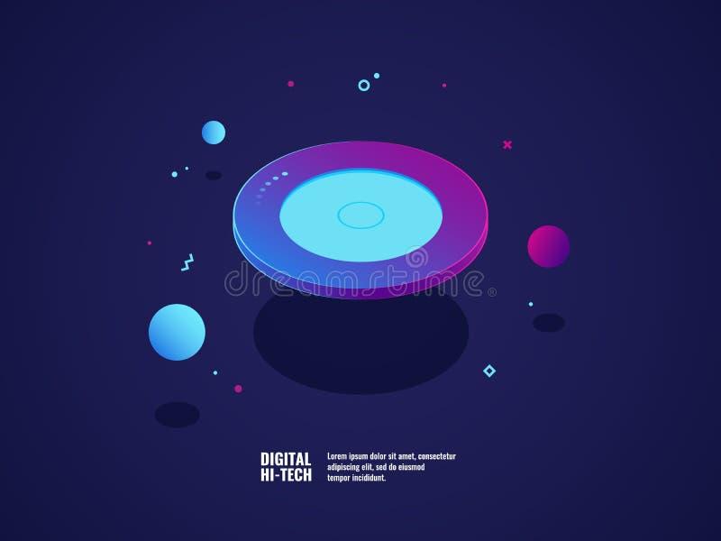 Begrepp för Digital teknologi, modernt ultraviolett baner som flyger plattaobjekt, källa av information, server för lagringsappar stock illustrationer