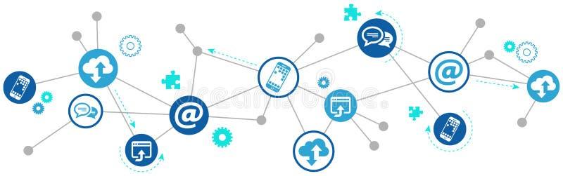Begrepp för Digitalization och för mobil kommunikation royaltyfri illustrationer