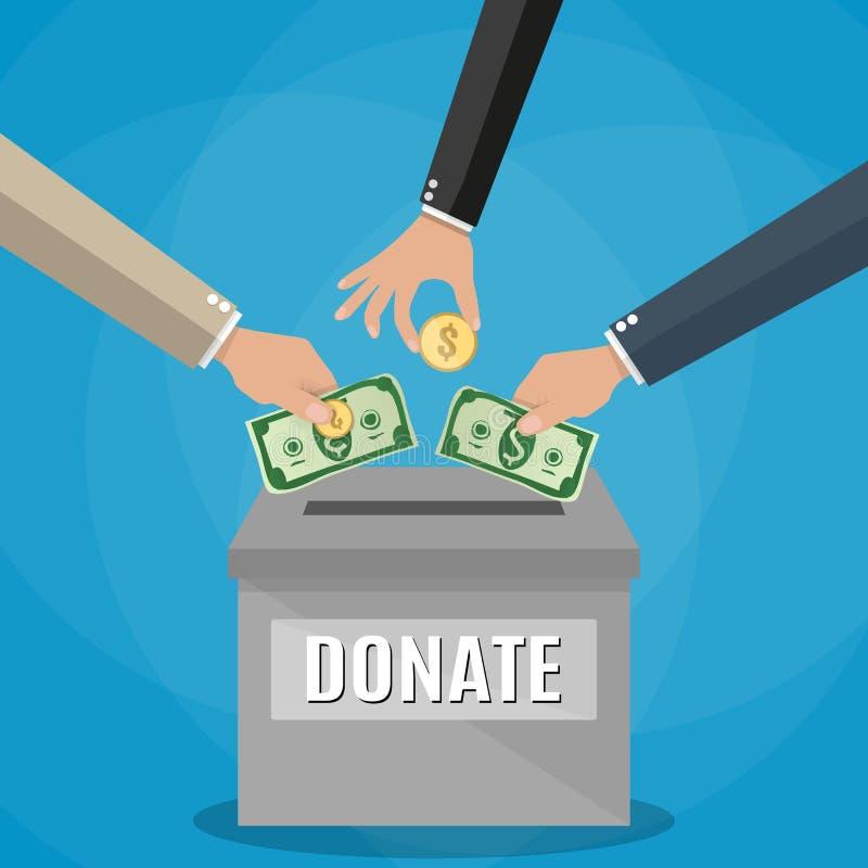 Begrepp för donationaskvektor royaltyfri illustrationer