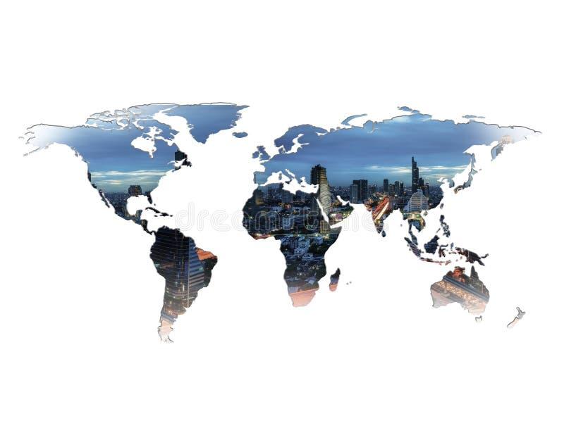 Begrepp för dubbel exponering för världskarta royaltyfri fotografi