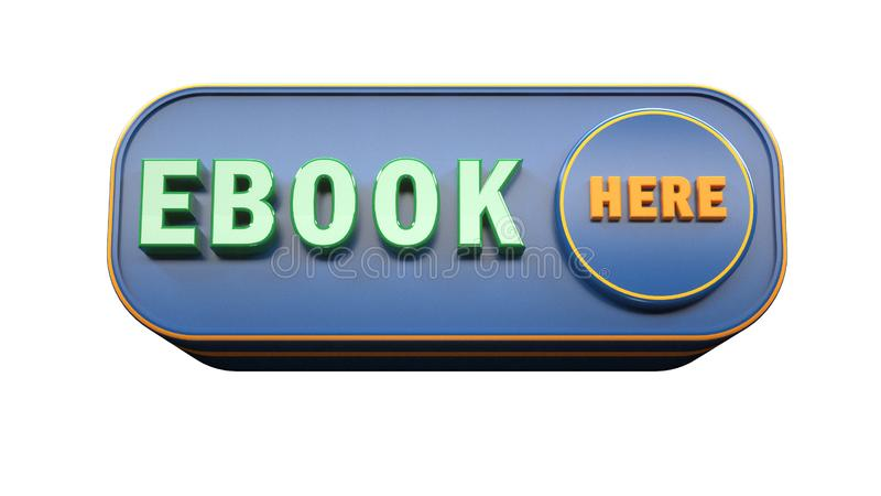 Begrepp för Ebook symbol 3d royaltyfri illustrationer