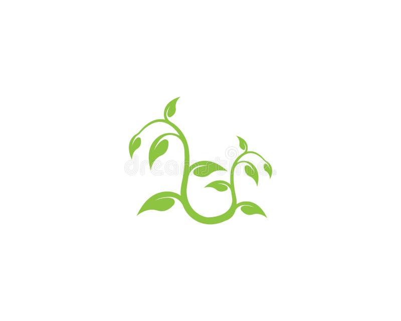 begrepp för ekologi för design för logo för trädbladvektor royaltyfri illustrationer