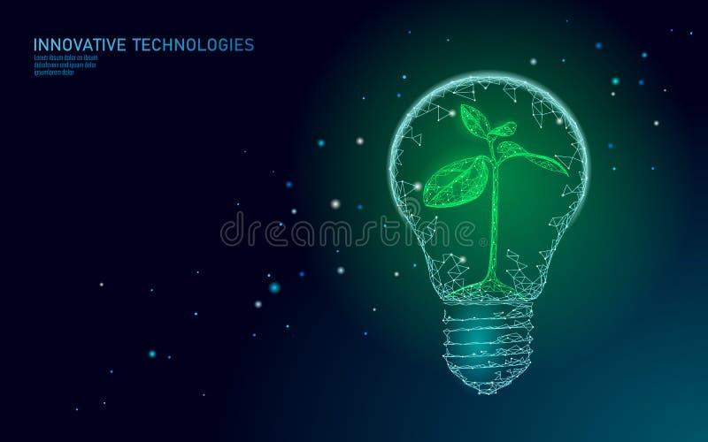 Begrepp för ekologi för energi för lampa för ljus kula sparande Polygonal ljust - liten växtplanta för blå grodd inom elektricite royaltyfri illustrationer