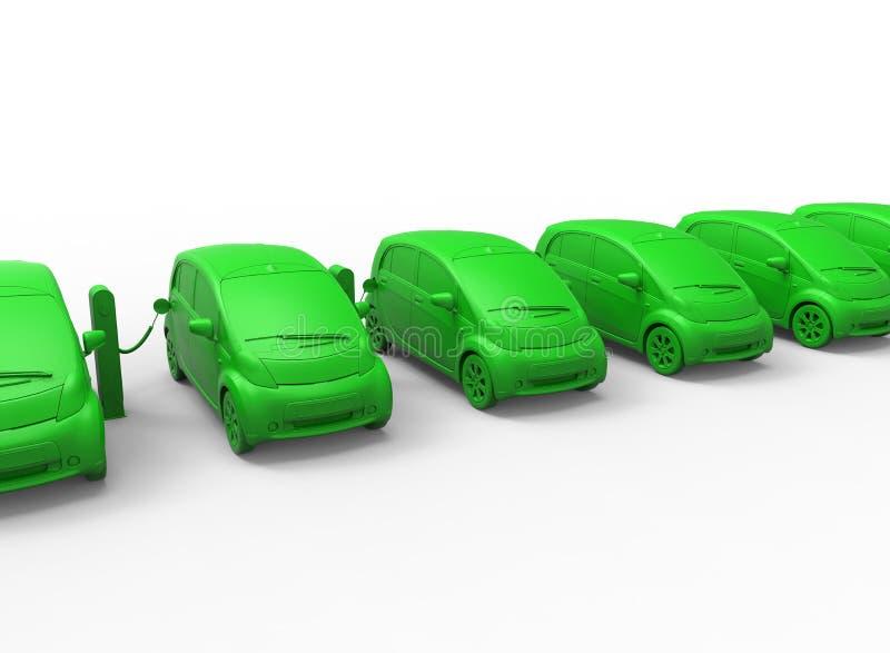 Begrepp för elbiluppladdningsstation royaltyfri illustrationer