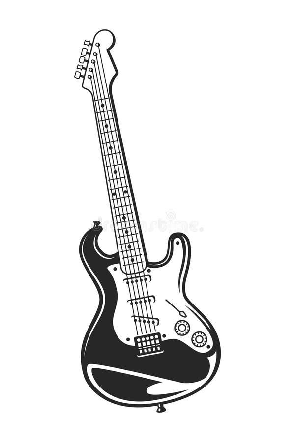 Begrepp för elektrisk gitarr för tappning monokromt vektor illustrationer