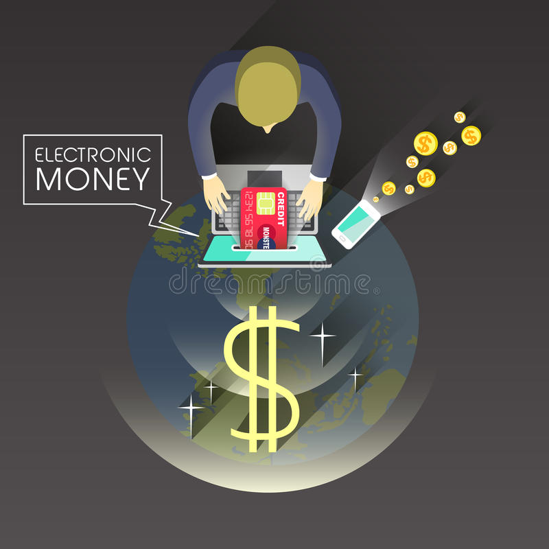 Begrepp för elektroniska pengar i plan design royaltyfri illustrationer