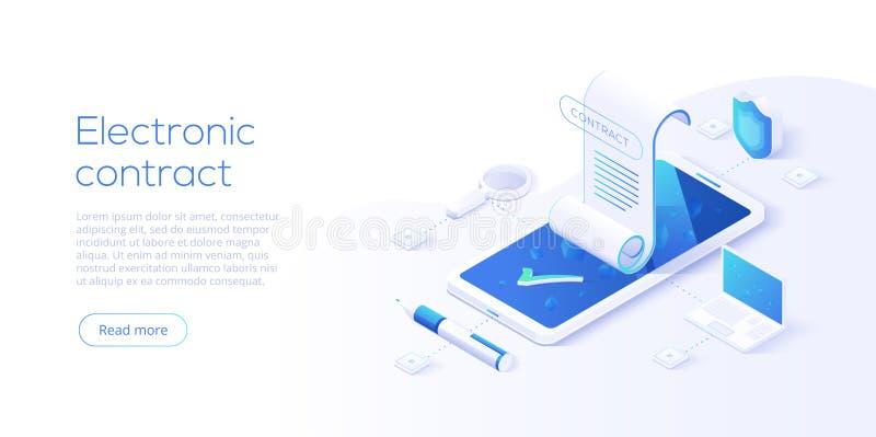 Begrepp för elektroniskt avtal eller för digitalt häfte i isometrisk vektorillustration Online-dokumenttecken via smartphonen ell vektor illustrationer