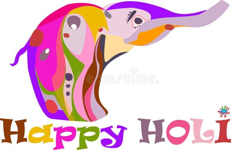 Begrepp för en lycklig Holi för ferie utsmyckad elefant stock illustrationer