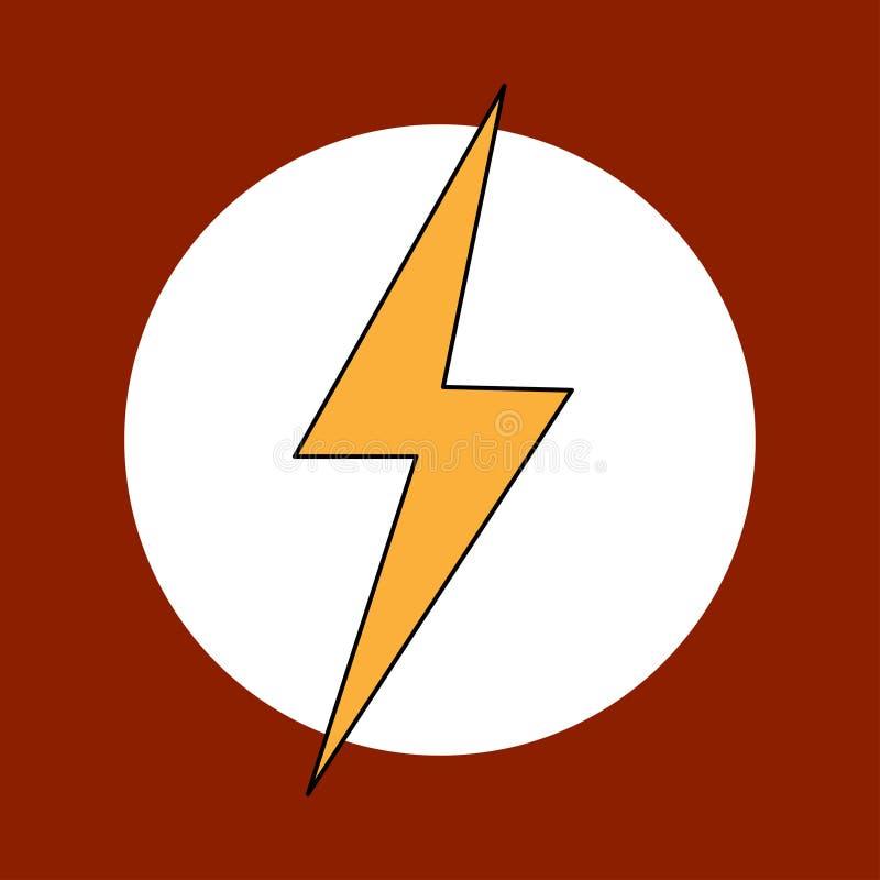 Begrepp för energi för symbol för blixt för åskvigglogo gult stock illustrationer