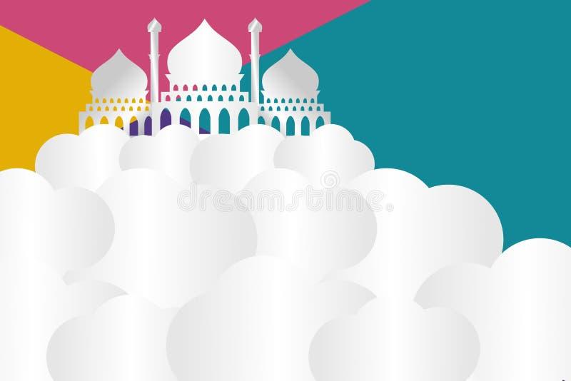 Begrepp för eps 10 för illustration för vektor för Ramadan Kareem hälsningdesign moderiktigt med moskén stock illustrationer
