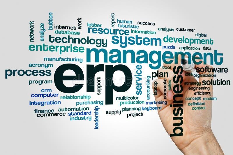 Begrepp för ERP-ordmoln på grå bakgrund royaltyfri bild