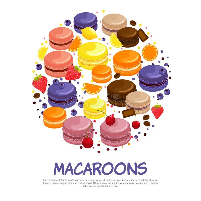 Begrepp för färgrika smakliga makron för tecknad film runt royaltyfri illustrationer