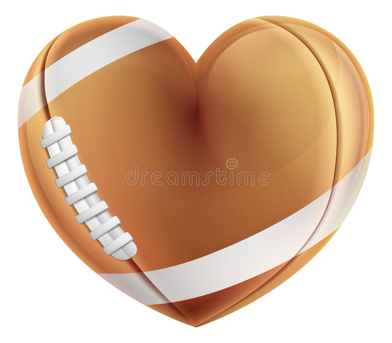 Begrepp för förälskelse för boll hjärtaShape för amerikansk fotboll royaltyfri illustrationer