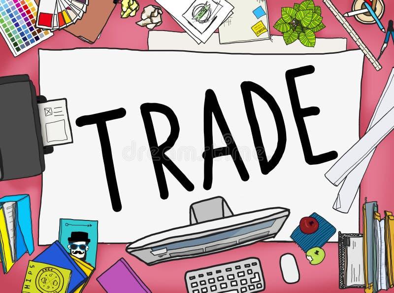 Begrepp för förhandling för handelkommersutbyte ekonomiskt stock illustrationer