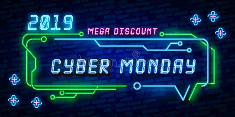 Begrepp för försäljning för rabatt för stor illustration för uppsättningCyber måndag, vektori neonstil, online-shopping och markn royaltyfri illustrationer