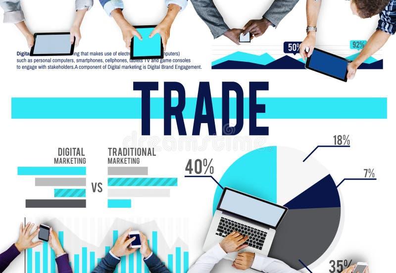 Begrepp för försäljningar för aktiemarknad för handelmarknadsföringskommers stock illustrationer