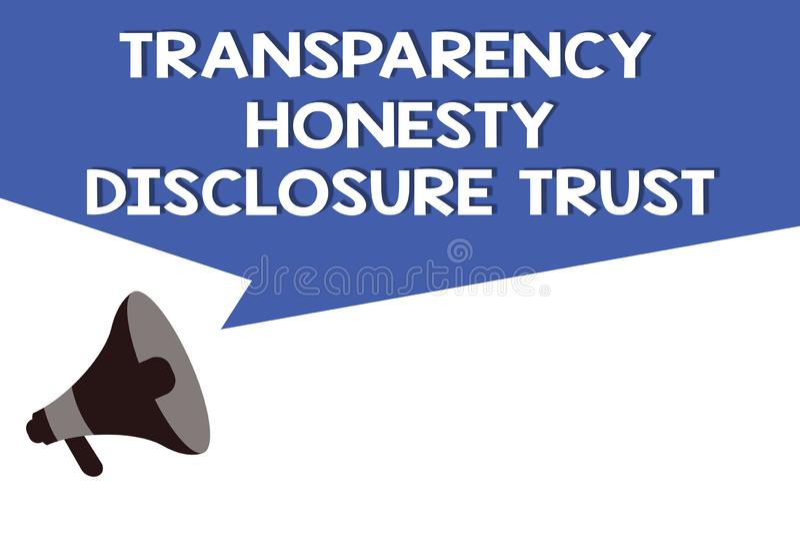 Begrepp för förtroende för avslöjande för ärlighet för handskrifttextstordia som betyder företags Will för politisk dagordning royaltyfri illustrationer