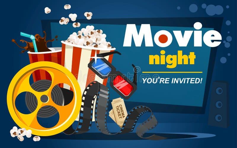 Begrepp för filmnatt med popcorn, biobiljetter, drink, band i tecknad filmstil Film eller biobanerdesign Vektorfilm royaltyfri illustrationer