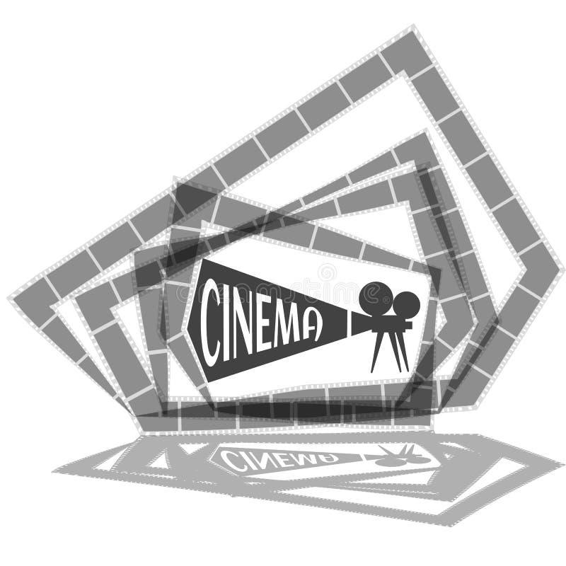 Begrepp för filmtid Idérik mall för bioaffischen, baner i retro tecknad filmstil royaltyfri illustrationer