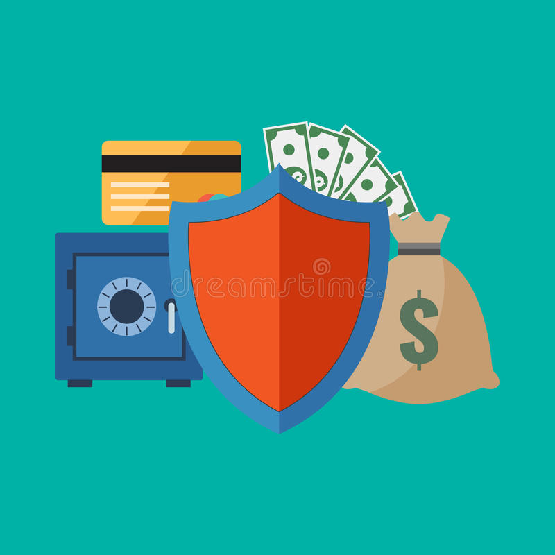 Begrepp för finansiell säkerhet Stilfull plan design vektor illustrationer