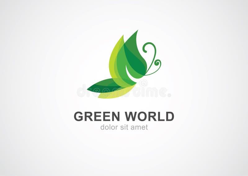 Begrepp för fjärilsbladeco Abstrakt vektor Logo Design Template stock illustrationer