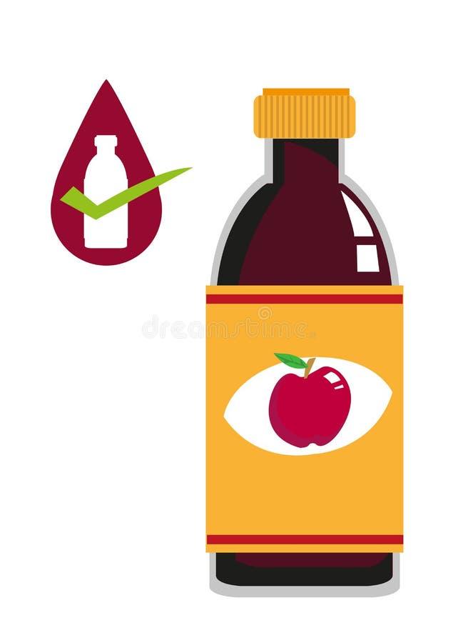 Begrepp för flaska för äppelcidervinäger Redigerbar gemkonst royaltyfri illustrationer