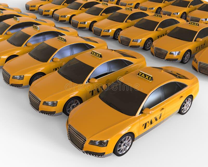 Begrepp för flotta för taxitaxi royaltyfri illustrationer