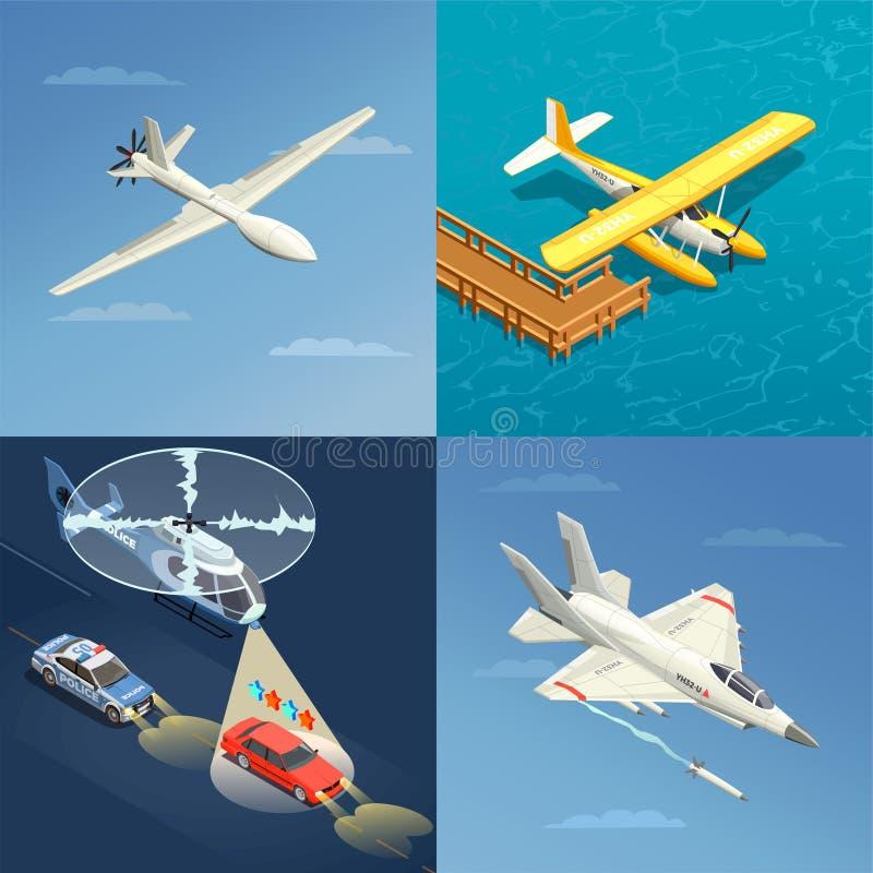 Begrepp för flygplanhelikopterdesign vektor illustrationer