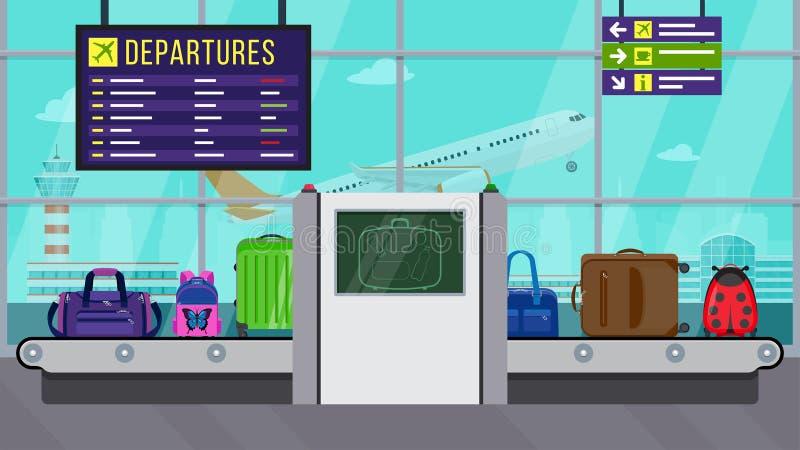Begrepp för flygplatssäkerhet Röntgenstrålebagagebildläsare Kontrollera bagage inom flygplats royaltyfri illustrationer