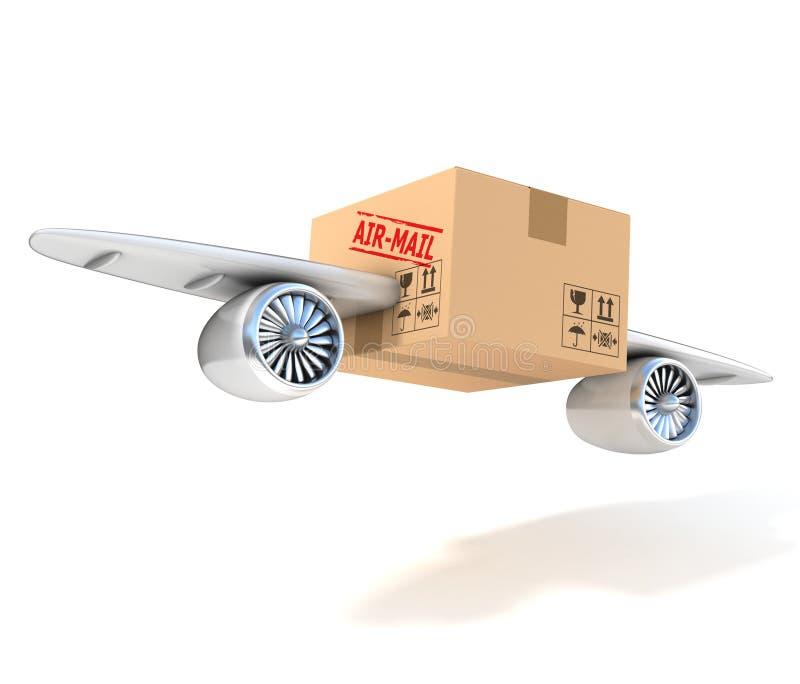 Begrepp för flygpost 3d stock illustrationer