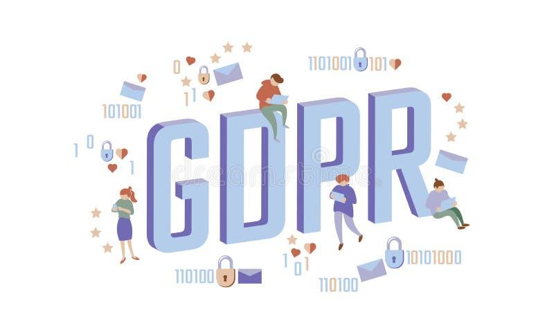 Begrepp för folk för GDPR-lag isometriskt Skyddar stora bokstäver plan 3D för små män som allmänna data för hänglås regleringssäk vektor illustrationer