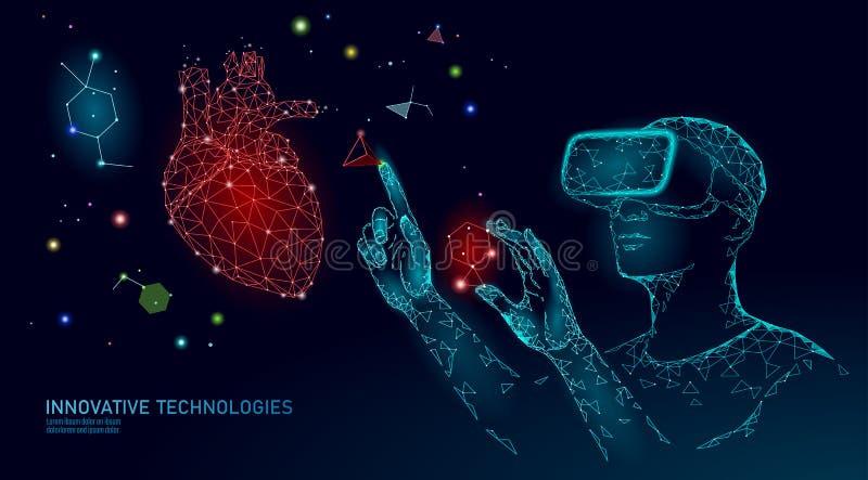 Begrepp för forskning för vetenskapskardiologioperation Exponeringsglas f?r virtuell verklighet f?r projektion f?r VR-h?rlurar me royaltyfri illustrationer