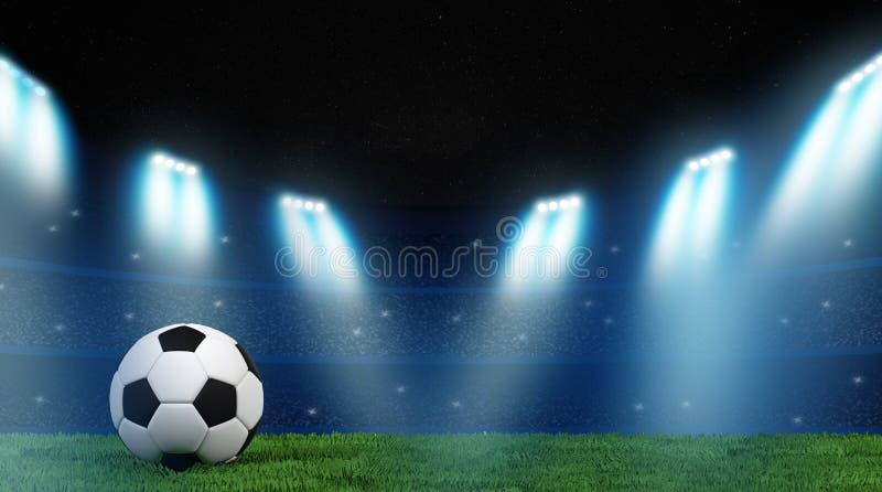 Begrepp för fotboll 3D i stadion royaltyfri illustrationer