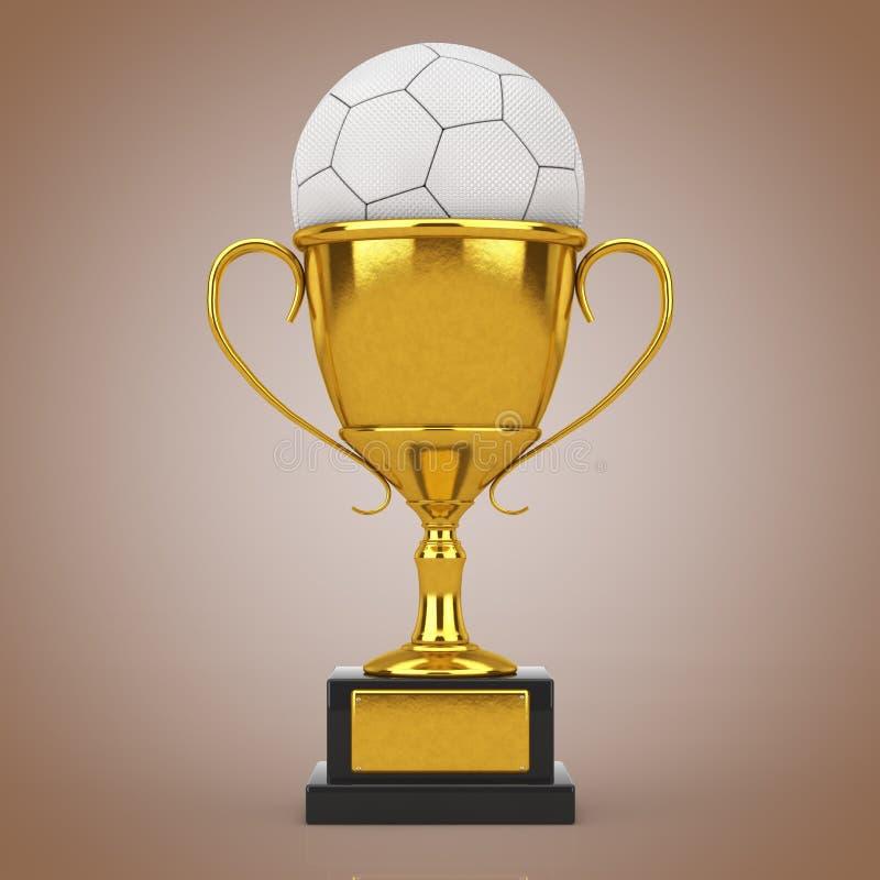 Begrepp för fotbollfotbollutmärkelse Guld- utmärkelsetrofé med för fotbollfotboll för vitt läder bollen framförande 3d royaltyfri fotografi