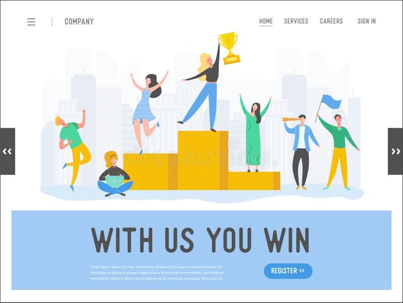 Begrepp för framgång för affärsfolk, ledarskap, mall för prestationlandningsida Affärsmantecken med priset som segrar trofén vektor illustrationer