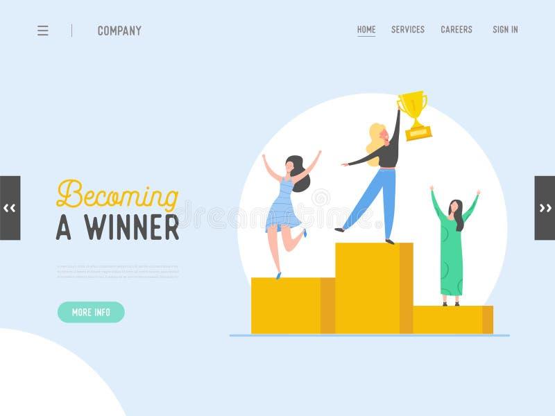 Begrepp för framgång för affärsfolk, ledarskap, mall för prestationlandningsida Affärsmantecken med priset som segrar trofén stock illustrationer