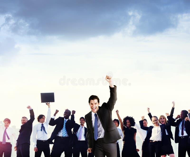 Begrepp för framgång för beröm för affärsfolk företags royaltyfria foton