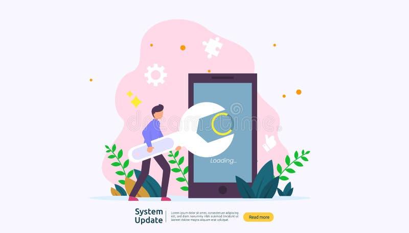 begrepp för framsteg för operationsystemuppdatering data synkroniserar process- och installationsprogram sida för illustrationren stock illustrationer