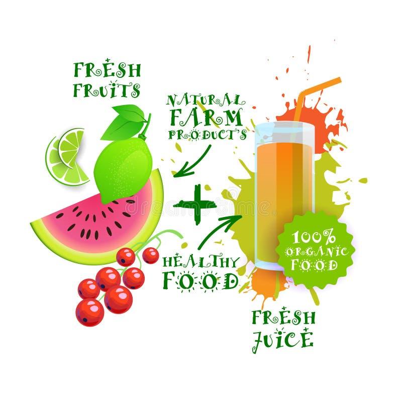 Begrepp för gårdsprodukter för ny Juice Cocktail Mix Logo Natural mat sunt stock illustrationer