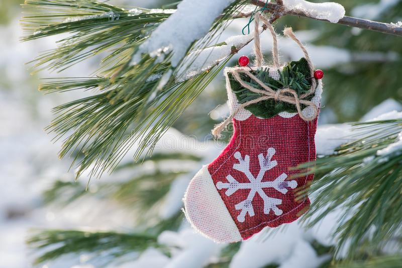 Begrepp för garnering för vinterferie: snöflingavirkningjulstrumpan och djupfryst snö täckte för att sörja trädris i skog arkivbild
