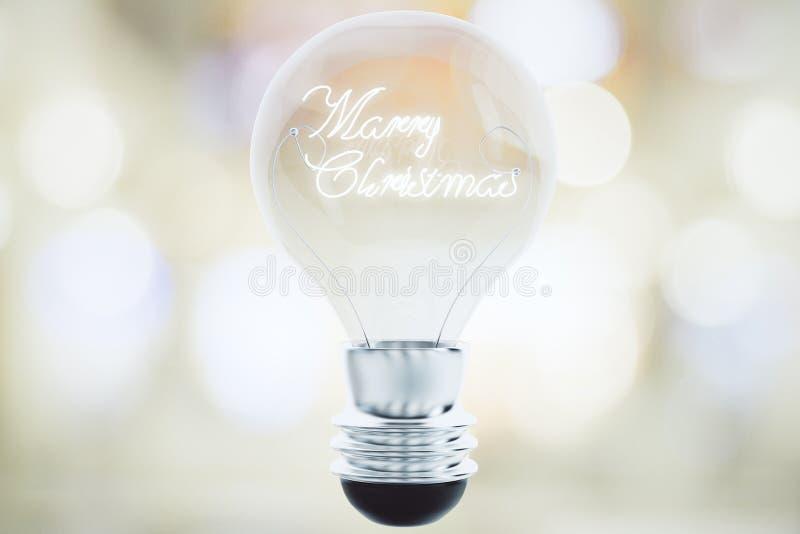 Begrepp för glad jul med phra för ljus kula och för glad jul royaltyfri bild