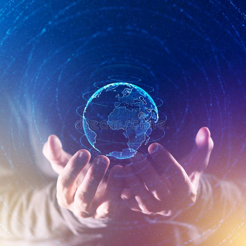 Begrepp för global affär och kommunikations arkivfoto