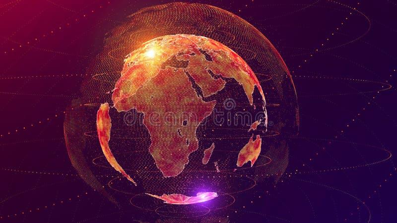 Begrepp för globalt nätverk för konstgjord intelligens för världsAI E Nätverk för global kommunikation för ICT stock illustrationer