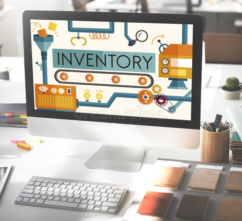 Begrepp för gods för tillgångar för inventariummateriel fabriks- stock illustrationer