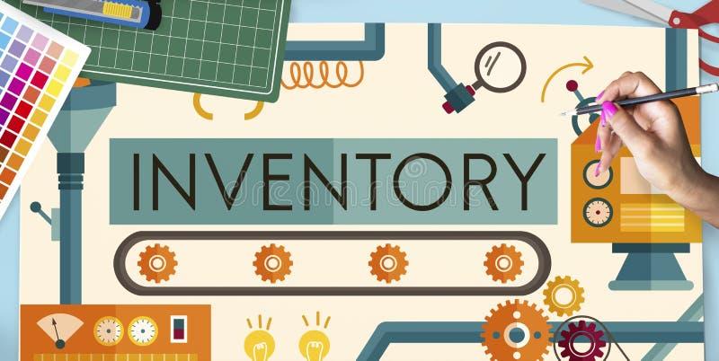 Begrepp för gods för tillgångar för inventariummateriel fabriks- arkivbilder